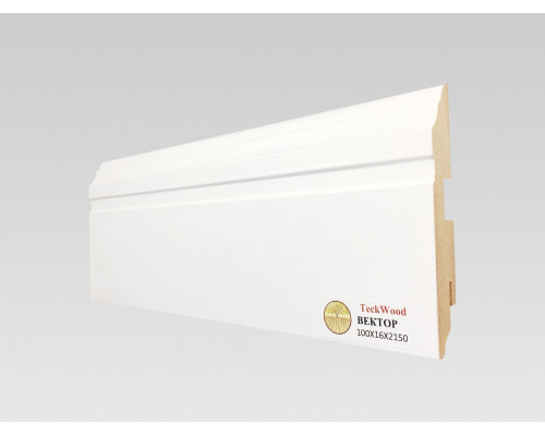 Плинтус напольный белый из МДФ, 100х16мм