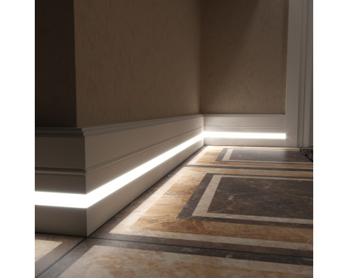 Плинтус белый из МДФ под подсветку, 16х110мм